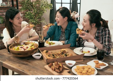 group of people enjoys pizza together at home.