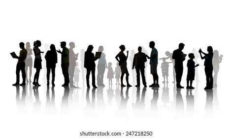 Group People Family Children Technology Communication Talking Concept