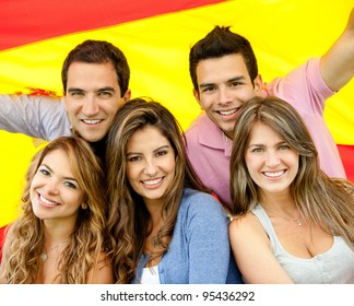 Group of people with the flag of Spain