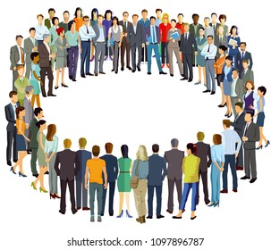 a group of people form a circle, illustration