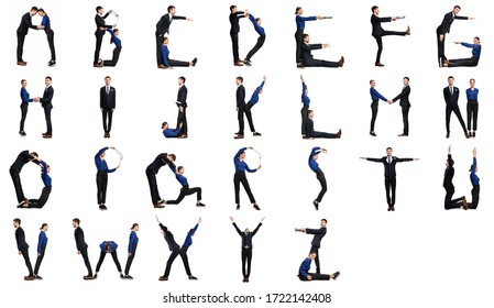 Group of people forming english alphabet isolated over white background, studio wall