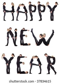 Group of people forming the phrase 'Happy new year', isolated on white background.