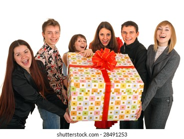Group of people and gift box. Isolated.