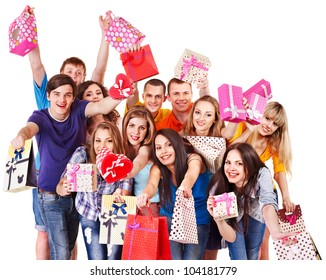 Group people with gift box on party. Isolated.