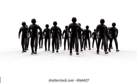 Group of people going forward with shadows