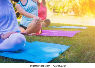 Group people have meditation for yoga. yoga group in park .Photo concept yoga and good health. group,people,meditation,yoga group,park,concept yoga,good