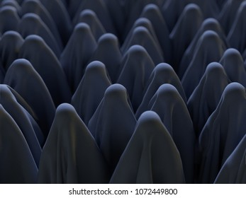 group of people hidden under the cloth, 3d illustration