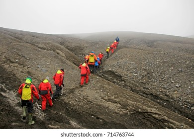 Group of people hiking at Deception Island, Antarctic Peninsula, Antarctica