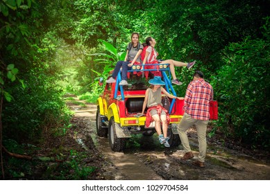 Group of People Hiking and Traveling for Camping in the Forest in Weekend Summer - Travel and Recreation Lifestyle Concept