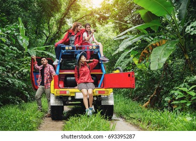 Group of People Hiking and Traveling for Camping in the Forest with Road Trip in Weekend Summer - Travel and Recreation Concept