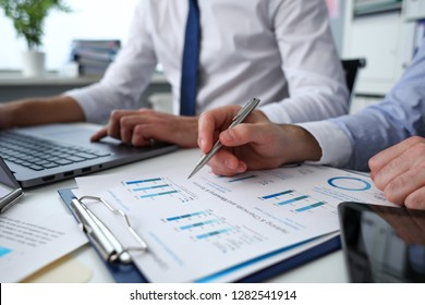 Group of people hold in arms financial papers solve and discuss problem closeup. Fresh view review situation new angle look professional training white collar investment and finance concept