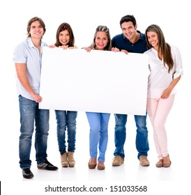 Group of people holding a banner - isolated over white background