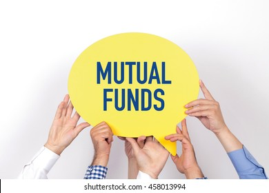 Group of people holding the MUTUAL FUNDS written speech bubble