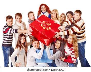 Group people holding red gift box. Isolated.