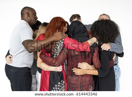 group people hugging support together stock photo edit now