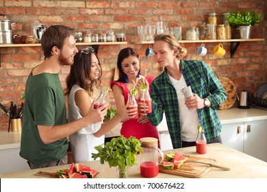 Group of people at kitchen