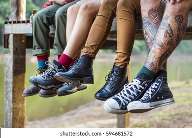 Group People Legs Hanging Outdoors Concept