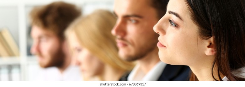 Group of people listen carefully during seminar in office portrait. Study event, client conversation, plan creative job, customer support service, case hear in court, leader performance concept