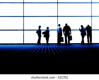 Group of People looking out large window