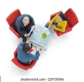 Group of People Meeting in Aerial View