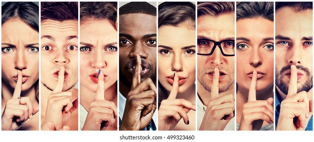 Group of people men women with finger on lips gesture