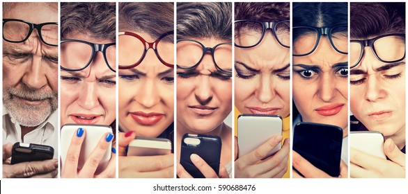 Group of people men and women with glasses having trouble seeing cell phone, vision problems. Bad text message.