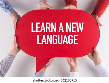 Group of People Message Talking Communication LEARN A NEW LANGUAGE Concept
