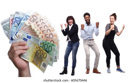 Group of people and money