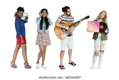 Group of people with music media entertainment