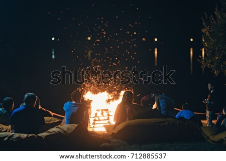 Group People Near Camp Fire Campfire Stock Photo Edit Now