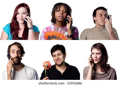 Group of people on talking on a cell phone