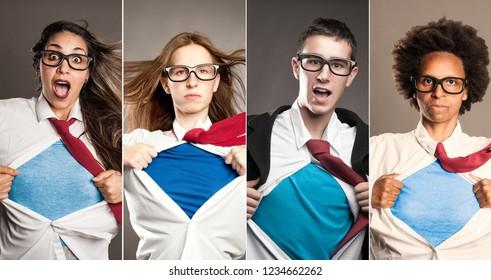 group of people opening shirt like superheroes