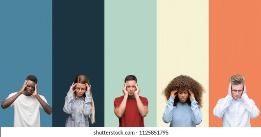 Group of people over vintage colors background with hand on head for pain in head because stress. Suffering migraine.