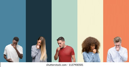 Group of people over vintage colors background feeling unwell and coughing as symptom for cold or bronchitis. Healthcare concept.