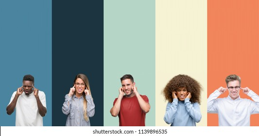 Group of people over vintage colors background covering ears with fingers with annoyed expression for the noise of loud music. Deaf concept.