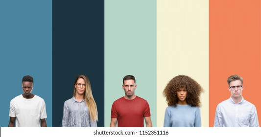 Group of people over vintage colors background skeptic and nervous, frowning upset because of problem. Negative person.