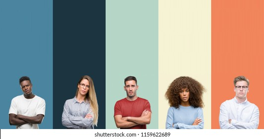 Group of people over vintage colors background skeptic and nervous, disapproving expression on face with crossed arms. Negative person.