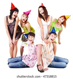 Group of people in party hat celebrate birthday. Isolated.