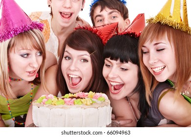 Group people in party hat eat cake. Isolated.
