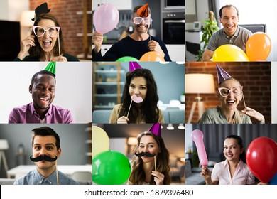 Grupo De Personas Que Participan En Una Fiesta Virtual En Línea