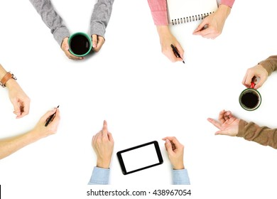 Group of People Planning, Discussing or Meeting with copy space on white background