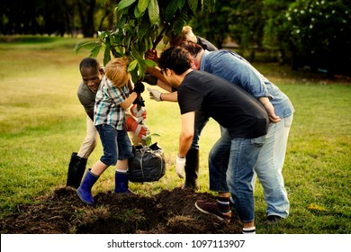Group of people planting a new tree