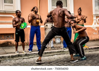 Group of people playing Capoeira in Salvador, Bahia, Brazil