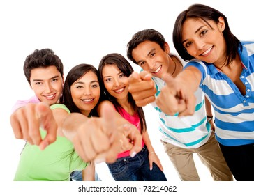 Group of people pointing at the camera ? isolated over a white background