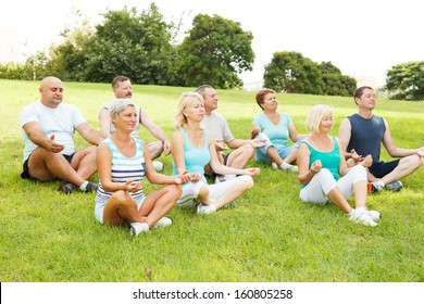 Group of People practicing yoga outside