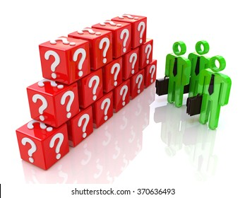 Group of people and question mark. 3d rendered illustration in the design of information related to the problems and issues