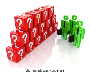 Group of people and question mark. 3d rendered illustration.3D Illustration