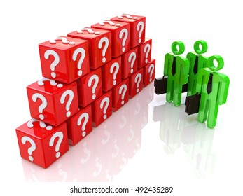 Group of people and question mark. 3d rendered illustration in the design of information related to the problems and issues. 3d illustration