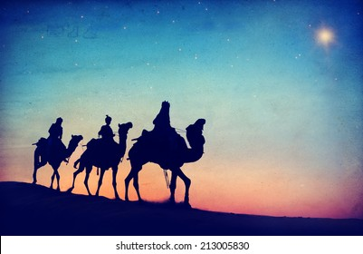 Group of People Riding Camel Isolated on Background