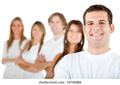 Group of people in a row smiling - isolated over a white background